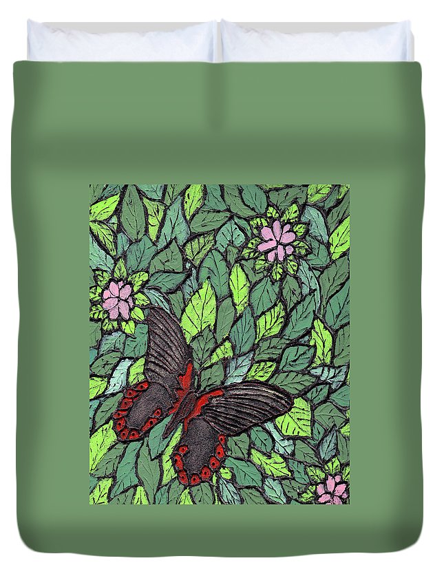 Butterfly Duvet Cover featuring the painting Red Butterfly by Wayne Potrafka