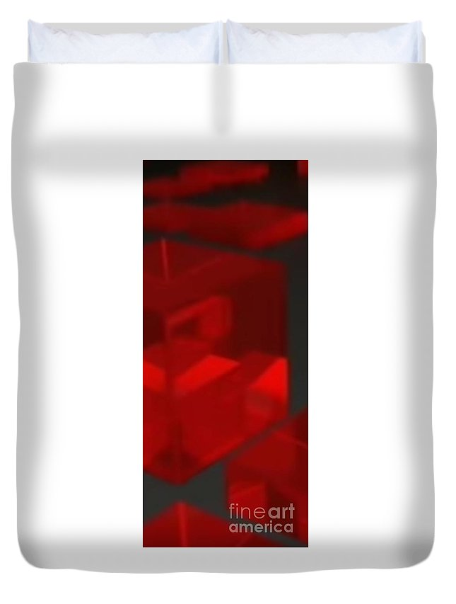 Luxury Duvet Cover featuring the digital art Red Cube by Archangelus Gallery