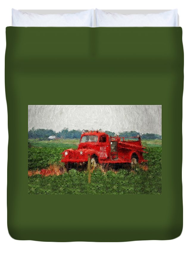 Fire Duvet Cover featuring the painting Red Fire Truck by Michael Thomas