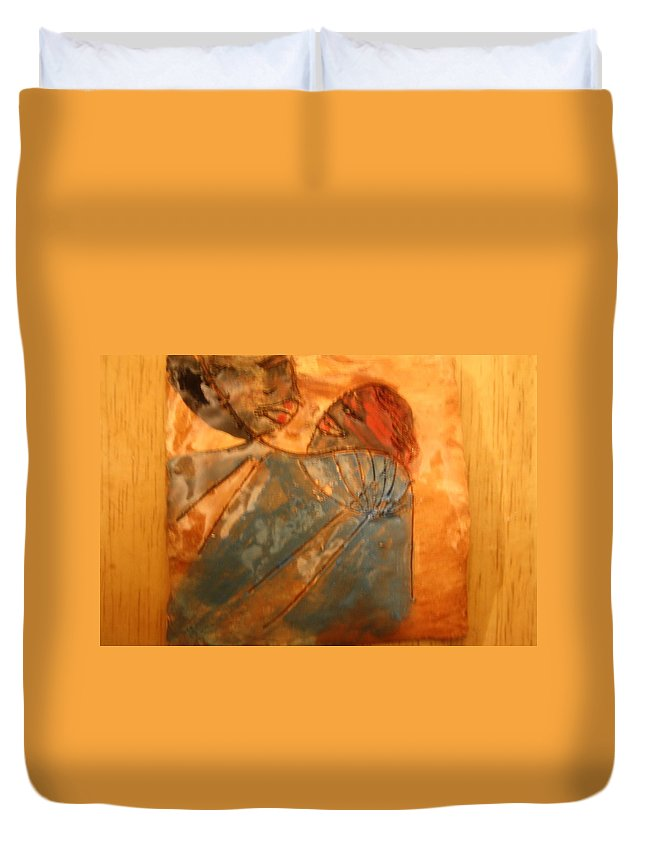 Jesus Duvet Cover featuring the ceramic art Red Kiss - Tile by Gloria Ssali