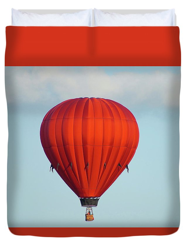 Balloons Duvet Cover featuring the photograph RED by Linda Cupps