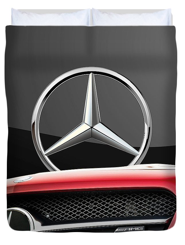 'auto Badges' By Serge Averbukh Duvet Cover featuring the photograph Red Mercedes - Front Grill Ornament And 3 D Badge On Black by Serge Averbukh