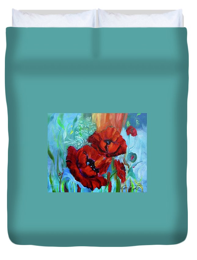 Red Poppies Print Duvet Cover featuring the painting Red Poppies by Jenny Lee