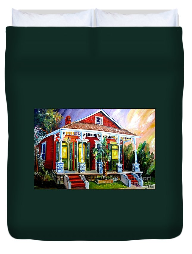 New Orleans Duvet Cover featuring the painting Red Shotgun House by Diane Millsap