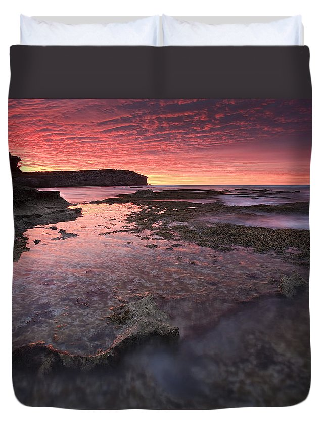 Sunrise Duvet Cover featuring the photograph Red Sky At Morning by Mike Dawson