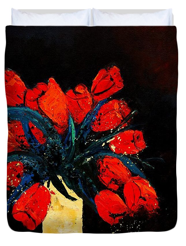 Flowers Duvet Cover featuring the painting Red Tulips by Pol Ledent