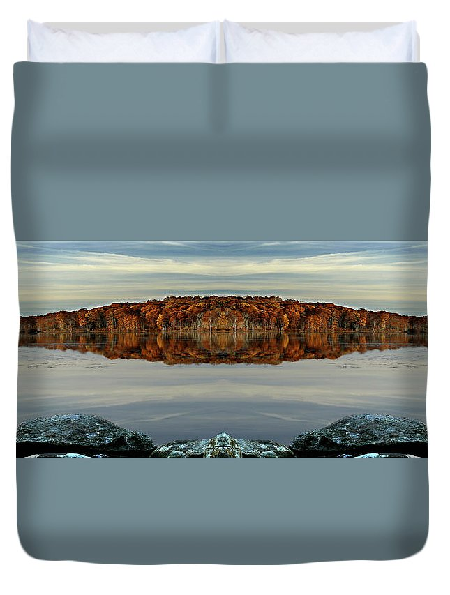 Art Duvet Cover featuring the photograph Mirrored Panoramic, Reflecting Fall From The Banks Of Bishop Pond by Gene Camarco