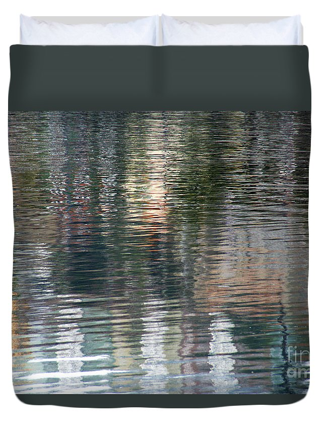 Reflection Duvet Cover featuring the photograph Reflections In Water by Vladi Alon