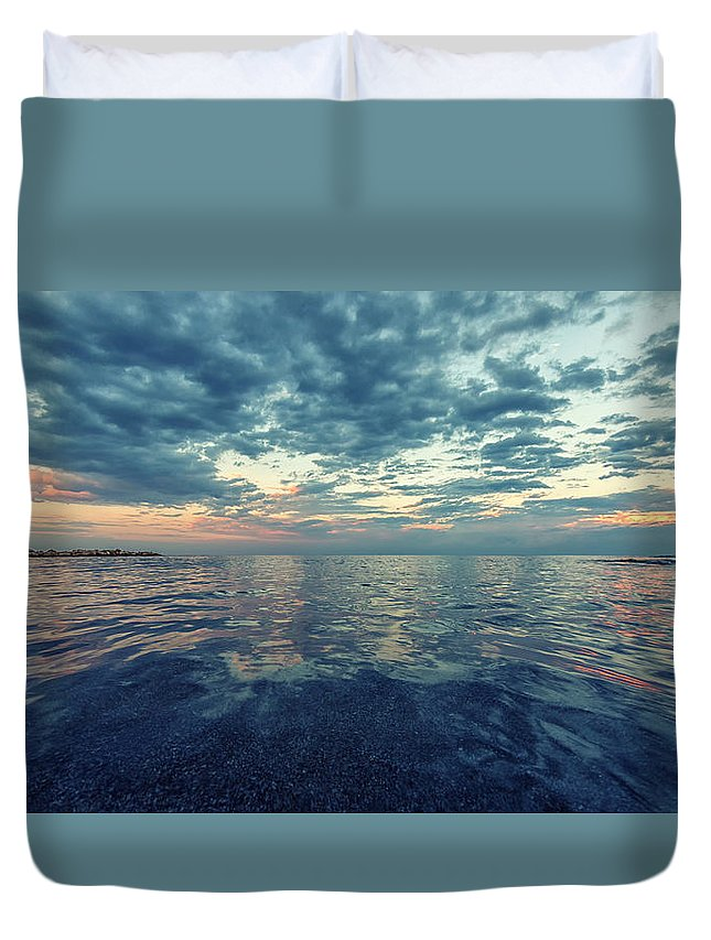 Sea Duvet Cover featuring the photograph Reflections 1 by Stelios Kleanthous