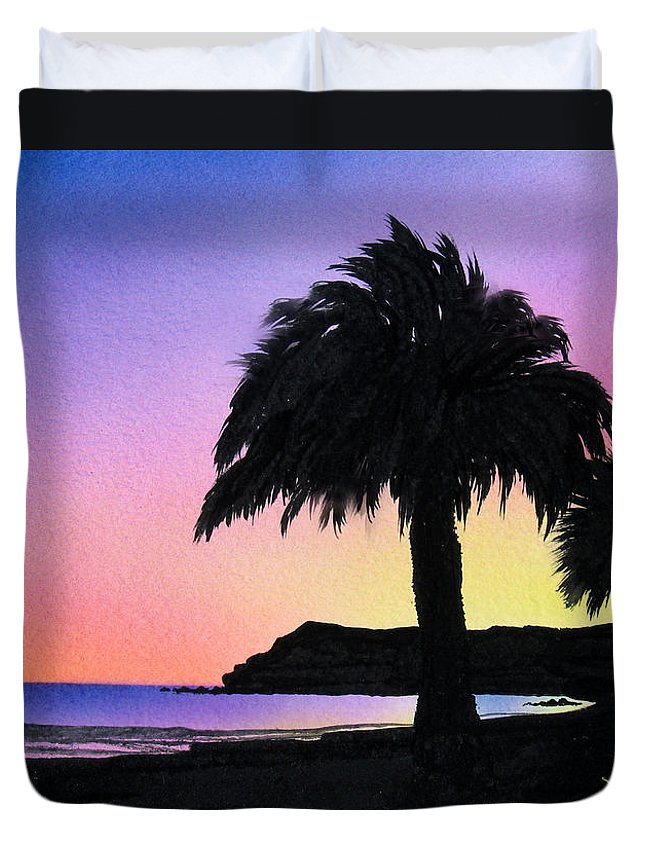 Beach Duvet Cover featuring the painting Refugio Point 1 by Angie Hamlin