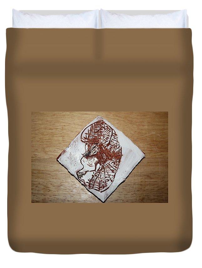 Jesus Duvet Cover featuring the ceramic art Repose - Tile by Gloria Ssali