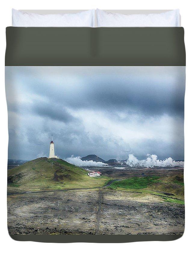 Reykjanes Duvet Cover featuring the photograph Reykjanesviti - Iceland by Joana Kruse