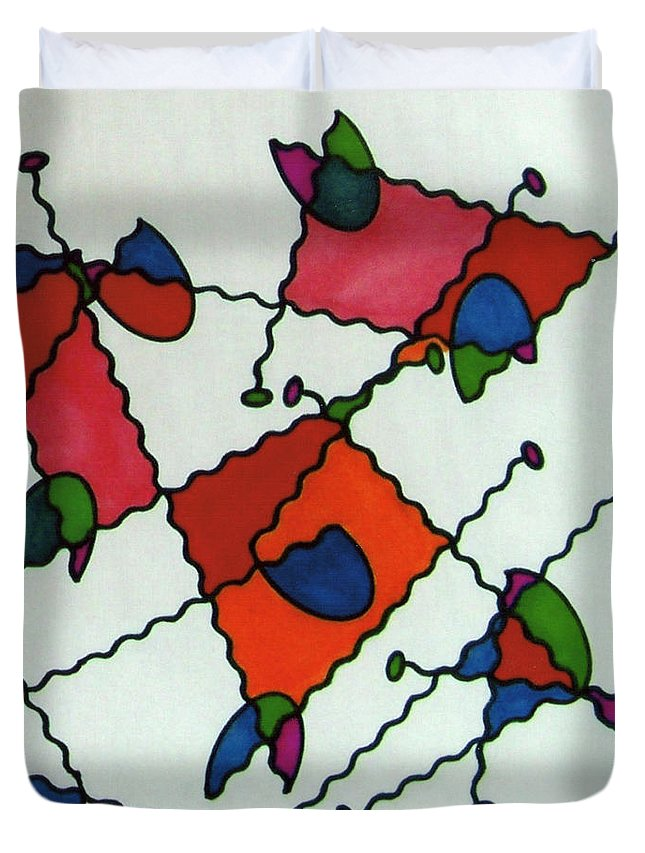 Ladybugs Duvet Cover featuring the drawing Rfb0581 by Robert F Battles