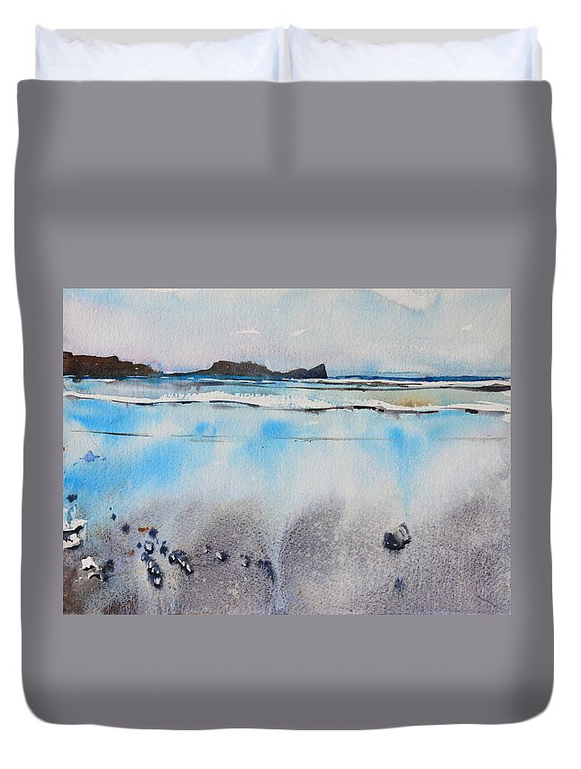 Rhossili Bay Duvet Cover featuring the painting Rhossili Bay, Wales by Ibolya Taligas