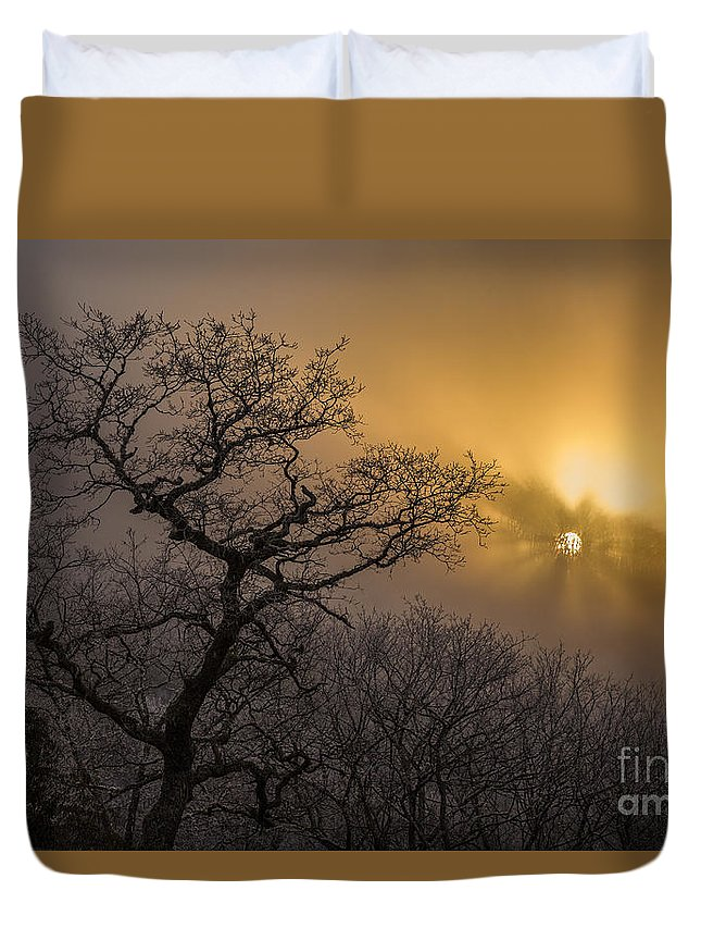 Appalachian Duvet Cover featuring the photograph Rime Ice And Fog At Sunset - Telephoto by John MacLean