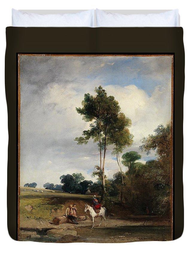 Richard Parkes Bonington Roadside Halt Duvet Cover featuring the painting Roadside Halt by Richard Parkes Bonington