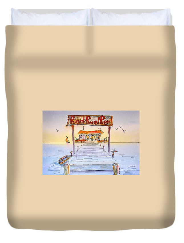 Florida Duvet Cover featuring the painting Rod And Reel Pier by Midge Pippel