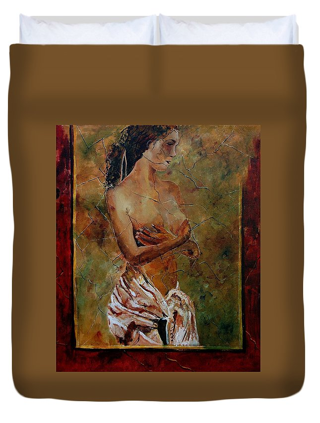 Nude Duvet Cover featuring the painting Roman Nude 67 by Pol Ledent