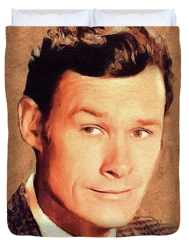 Ron Duvet Cover featuring the painting Ron Hayes, Vintage Actor by John Springfield
