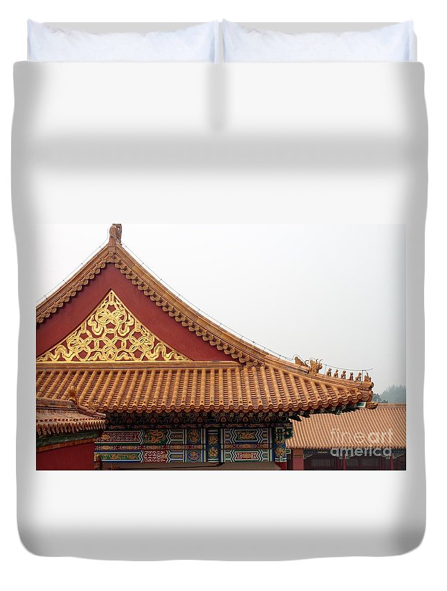 China Duvet Cover featuring the photograph Roof Forbidden City Beijing China by Thomas Marchessault