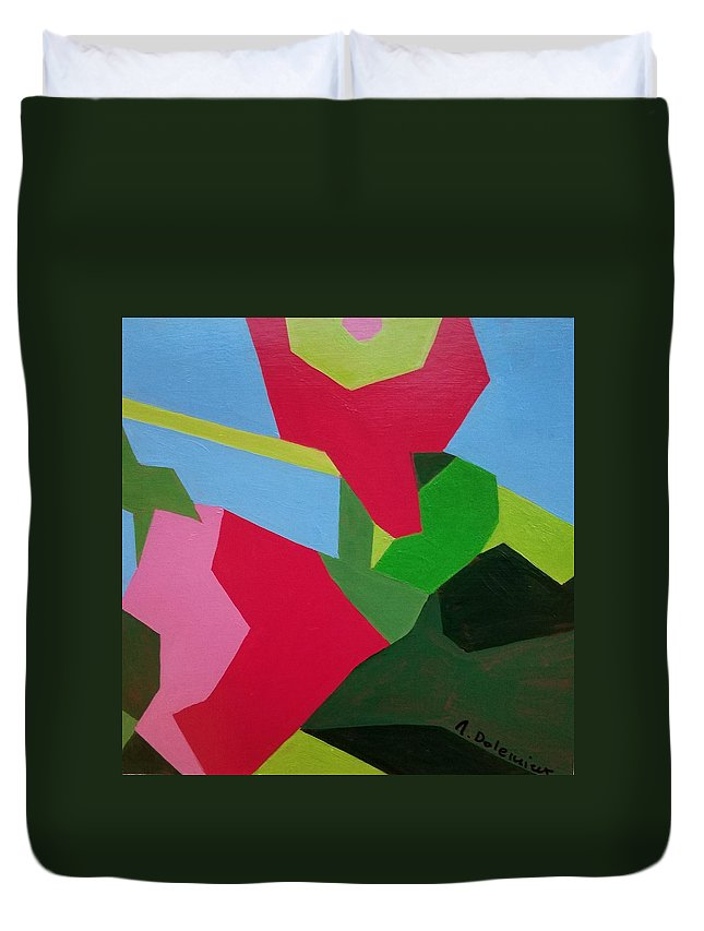 Abstract Duvet Cover featuring the painting Rose Tremiere by Muriel Dolemieux