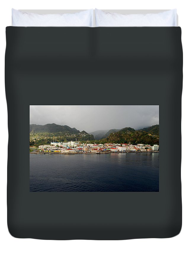 Island Paradise Duvet Cover featuring the photograph Roseau Dominica by Gary Wonning