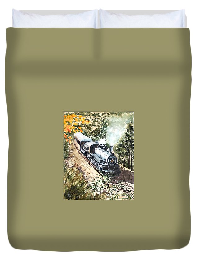 Trains Duvet Cover featuring the painting Round the Bend by Karen Ilari