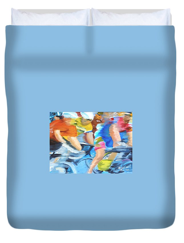Cycling Duvet Cover featuring the painting Rounding The Bend by Michael Lee