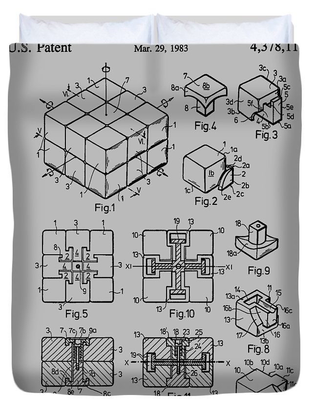 Rubik's Cube Duvet Cover featuring the photograph rubik's cube Patent 1983 by Chris Smith