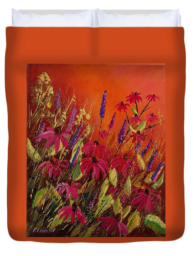 Flowers Duvet Cover featuring the painting Rudbeckias And Lyatris by Pol Ledent