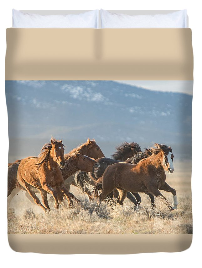 Horse Duvet Cover featuring the photograph Running Free by Kent Keller
