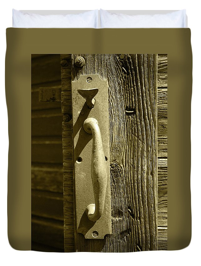 Handle Duvet Cover featuring the photograph Rusted Door Handle by Robert Hamm