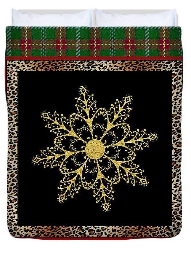 Jean Plout Duvet Cover featuring the painting Rustic Snowflake-jp3695 by Jean Plout