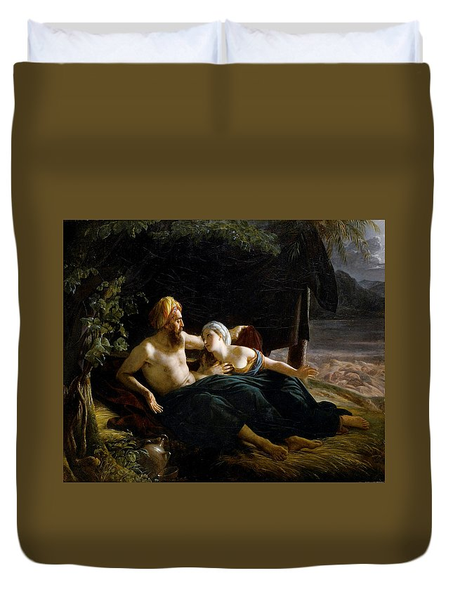 Louis Hersent Duvet Cover featuring the painting Ruth And Booz by Louis Hersent