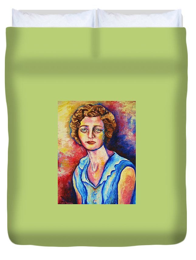 Portraits Duvet Cover featuring the painting Sad Eyes by Carole Spandau