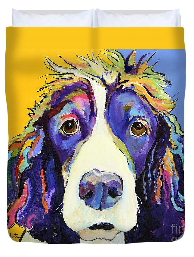 Blue Duvet Cover featuring the painting Sadie by Pat Saunders-White