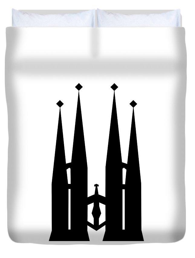 Duvet Cover featuring the mixed media Sagrada Familia by Asbjorn Lonvig