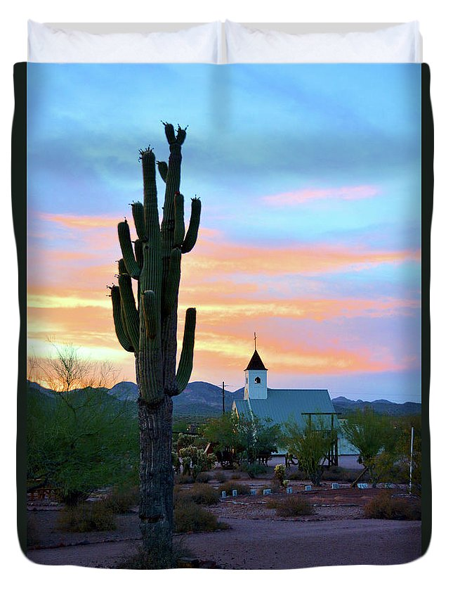 Scenic Duvet Cover featuring the photograph Saguaro Cactus And Church by Richard Jenkins