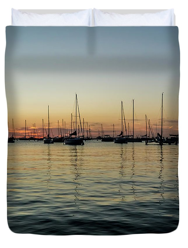Chicago Duvet Cover featuring the photograph Sailboats At Sunrise by Sven Brogren