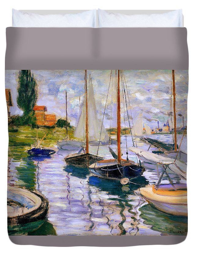 French Art Duvet Cover featuring the painting Sailboats On The Seine by Claude Monet