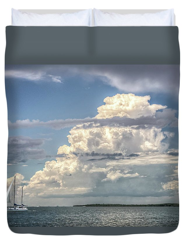 Sailing Duvet Cover featuring the photograph Sailing Away by Ronald Kotinsky