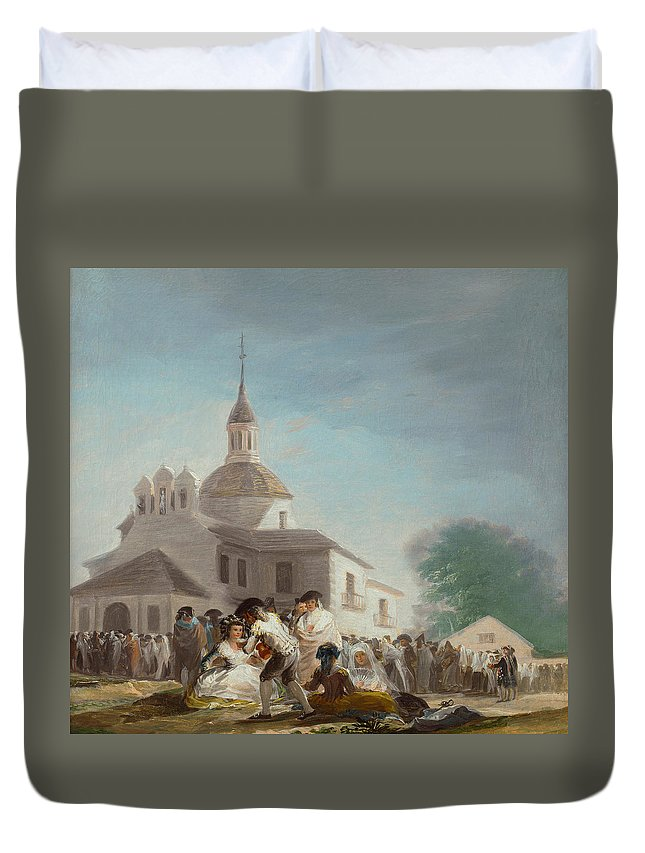 Architectural Duvet Cover featuring the painting Saint Isidore's Day At The Saint's Hermitage by Francisco Goya