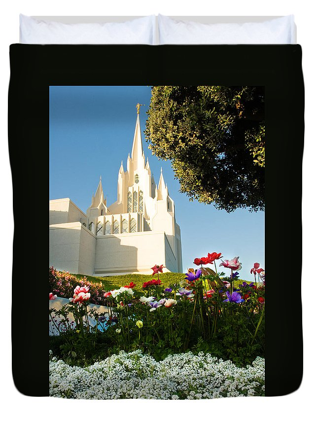 Lds Temple Photography Duvet Cover featuring the photograph San Diego Flowers by La Rae Roberts
