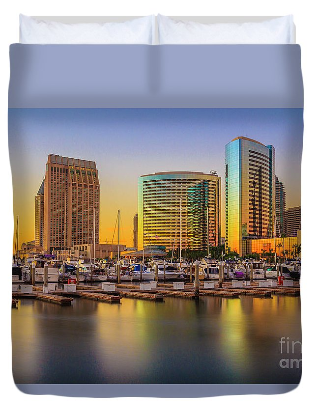 San Diego Seaport Long Exposure Sunset Duvet Cover featuring the digital art San Diego by Roman Gomez
