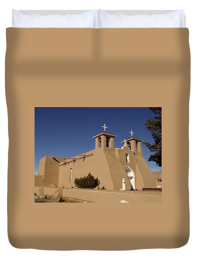 Church Duvet Cover featuring the photograph San Francisco De Asis Mission Church by Carol Milisen