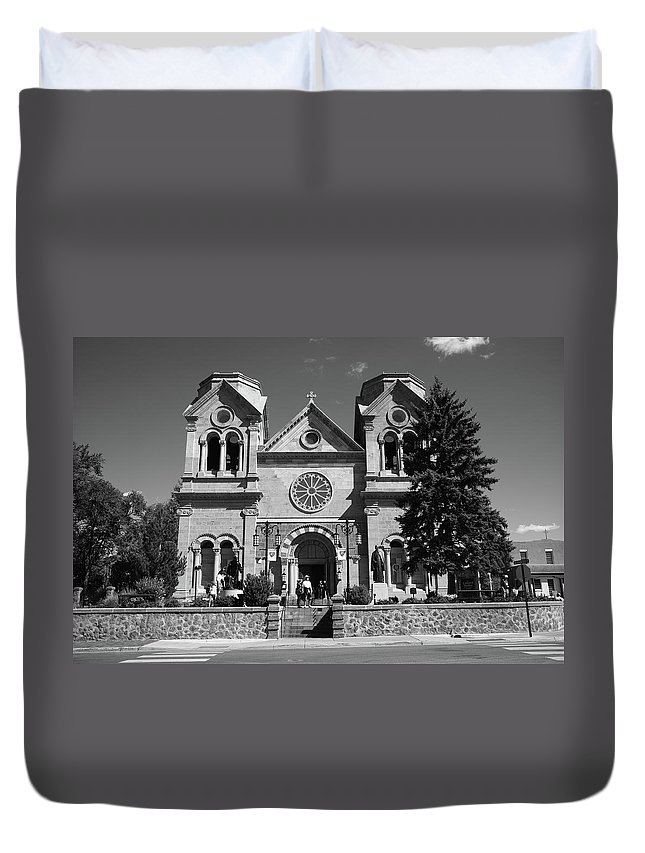 America Duvet Cover featuring the photograph Santa Fe - Basilica Of St. Francis Of Assisi by Frank Romeo