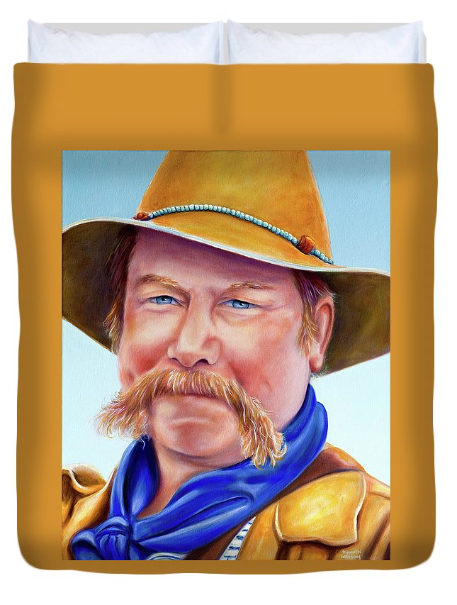 Man Duvet Cover featuring the painting Santana Jack by Shannon Grissom