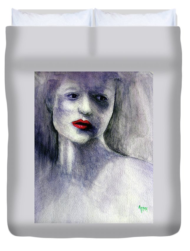 Woman Duvet Cover featuring the painting Sara by Adam Vance