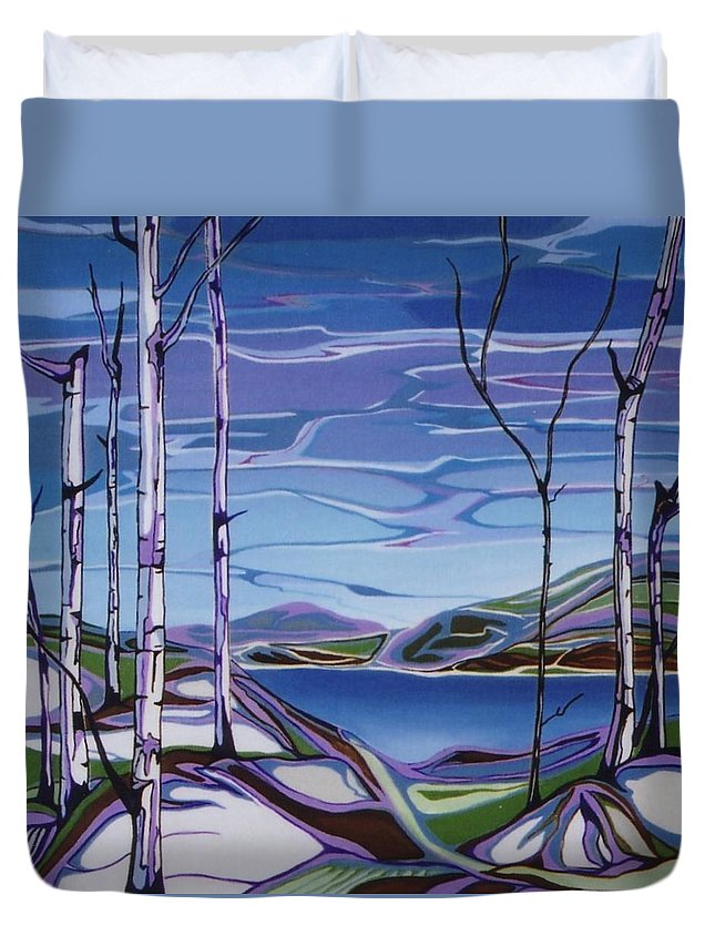 Landscape Duvet Cover featuring the painting Sardi Lake by Pat Purdy