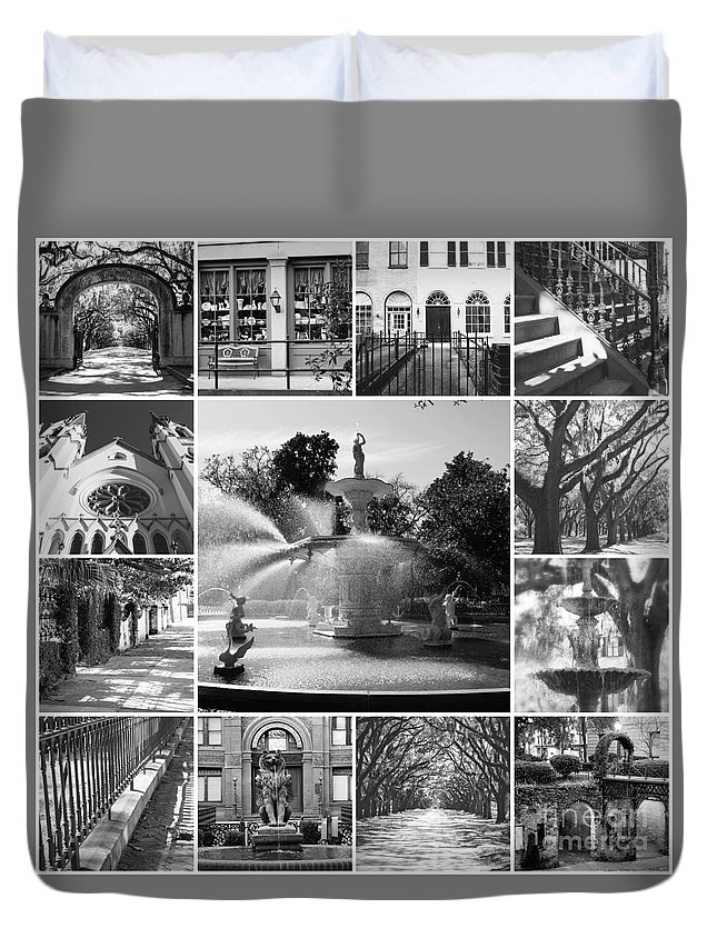 Black And White Duvet Cover featuring the photograph Savannah Collage Black And White by Carol Groenen